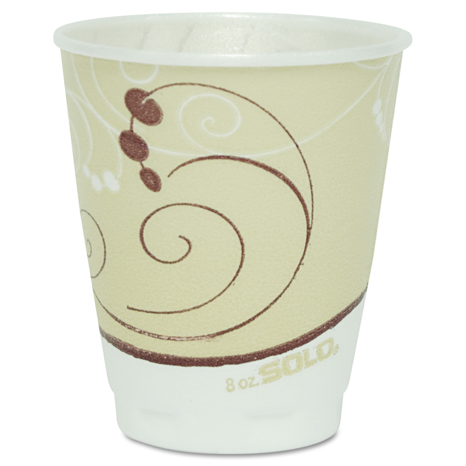 SOLO Cup Company Symphony Design Trophy Foam Hot/Cold Drink Cups, 8 oz., Beige, 100/Pack