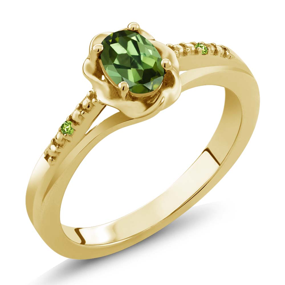0.51 Ct Oval Green Tourmaline and Green Simulated Peridot 18K Yellow Gold Ring by