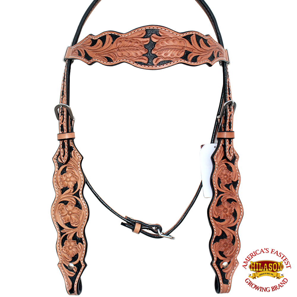 HILASON WESTERN AMERICAN LEATHER HORSE HEADSTALL BREAST COLLAR TAN FLORAL INLAY