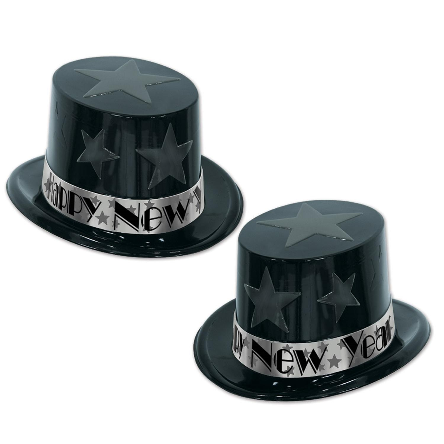"""Club Pack of 25 Star Tropper Silver """"Happy New Years"""" Legacy Party Favor Hat"""