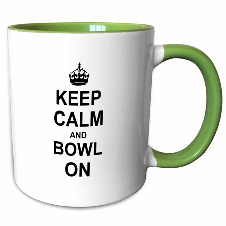3dRose Keep Calm and Bowl on - carry on bowling - gift for bowlers - black white fun funny humor humorous - Two Tone Green Mug, 11-ounce