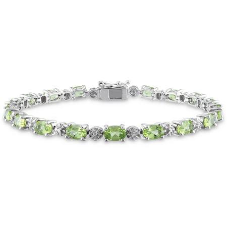 Peridot Tennis Bracelet - 8-4/5 Carat T.G.W. Peridot and Diamond-Accent Sterling Silver Tennis Bracelet, 7.25