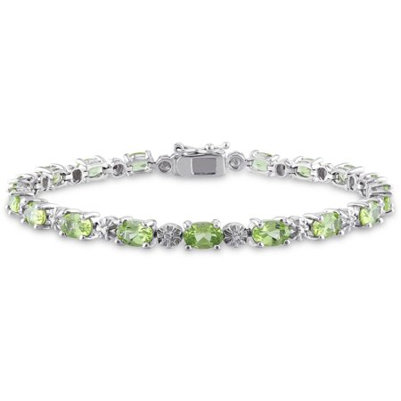 Lucky Peridot Bracelet (Tangelo 8-4/5 Carat T.G.W. Peridot and Diamond-Accent Sterling Silver Tennis Bracelet,)