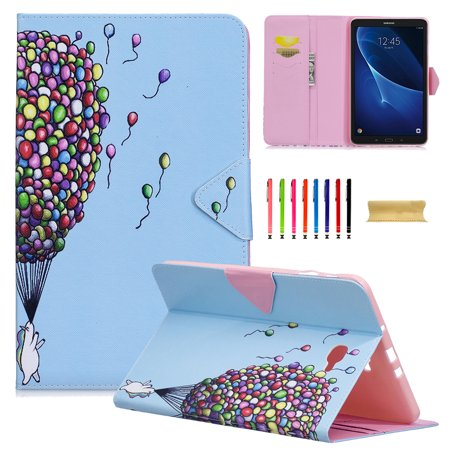 Uucovers Samsung Galaxy Tab A 10 1 Sm T580 T585 Tablet Case  Ultra Slim Lightweight Kickstand Case With Auto Sleep Wake Function   Card Slots For Tab A 10 1 2016 Model  White Bear   Colorful Balloon