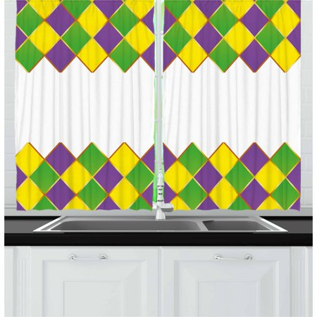 Mardi Gras Curtains 2 Panels Set, Carnival Colored Grid Design Diamond Line Pattern Retro Framework, Window Drapes for Living Room Bedroom, 55W X 39L Inches, Purple Lime Green Yellow, by Ambesonne