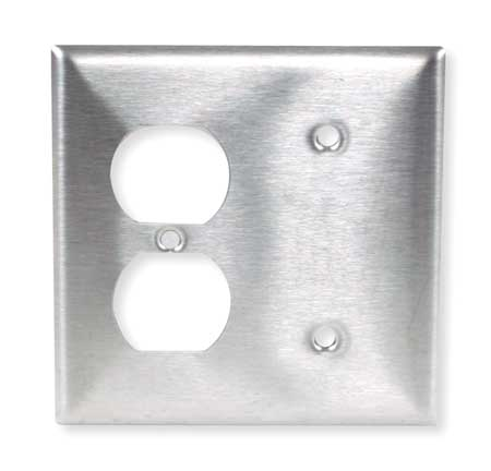 Duplex/Blank Wall Plate,2 Gang,Silver HUBBELL WIRING DEVICE-KELLEMS SS138