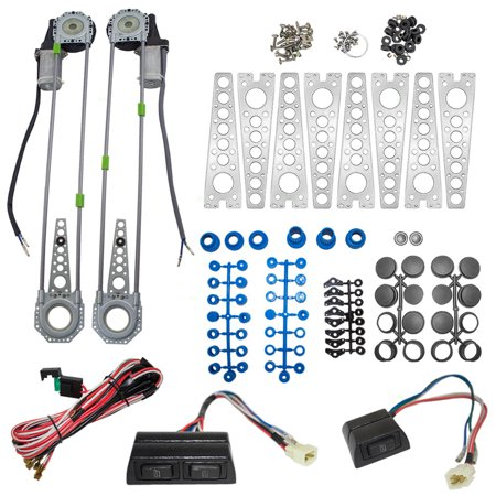 (BROCK Universal Electric Power Window Lift Regulator Roll Up Spal Type Conversion Kit w/ Switches Wiring & Hardware for 2-Door Pickup SUV Van Car)