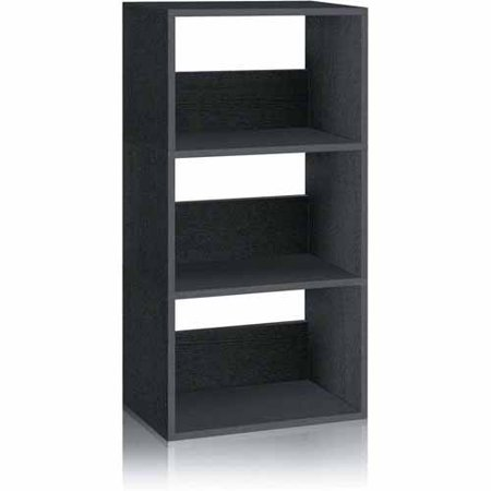 Way Basics Eco 3-Shelf Triplet Bookcase and Storage Shelf, Black