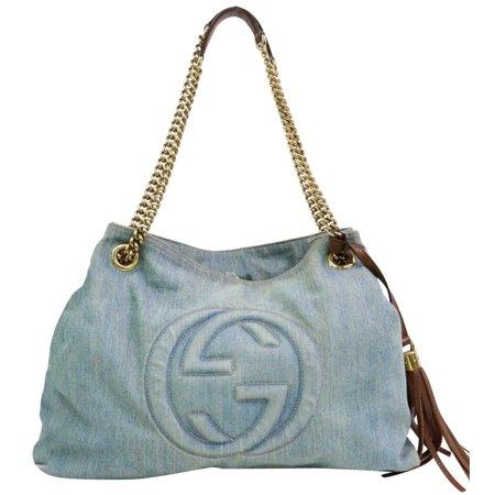 Gucci Denim Fringe Tassel Soho Chain Tote 870373