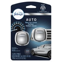 Febreze Auto Odor-Eliminating Air Freshener Vent Clips, New Car Scent, 2 count