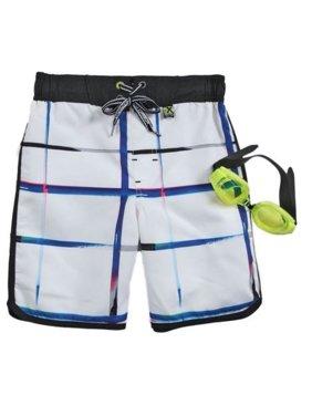 Zero Xposur Boys White Plaid Swim Trunks Board Shorts & Goggles Set