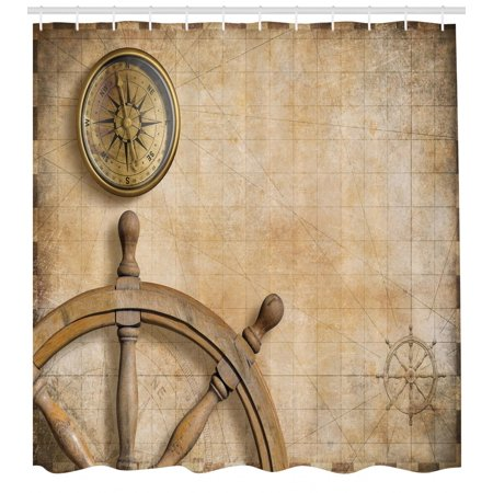 Nautical Shower Curtain, Steering Wheel and Compass Vintage Map Setting Captain's Chamber Finding Treasure Print, Fabric Bathroom Set with Hooks, Beige, by Ambesonne ()