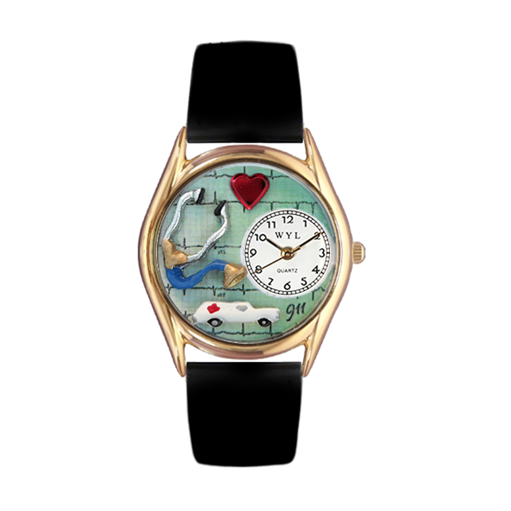 Whimsical EMT Navy Blue Leather And Goldtone Watch