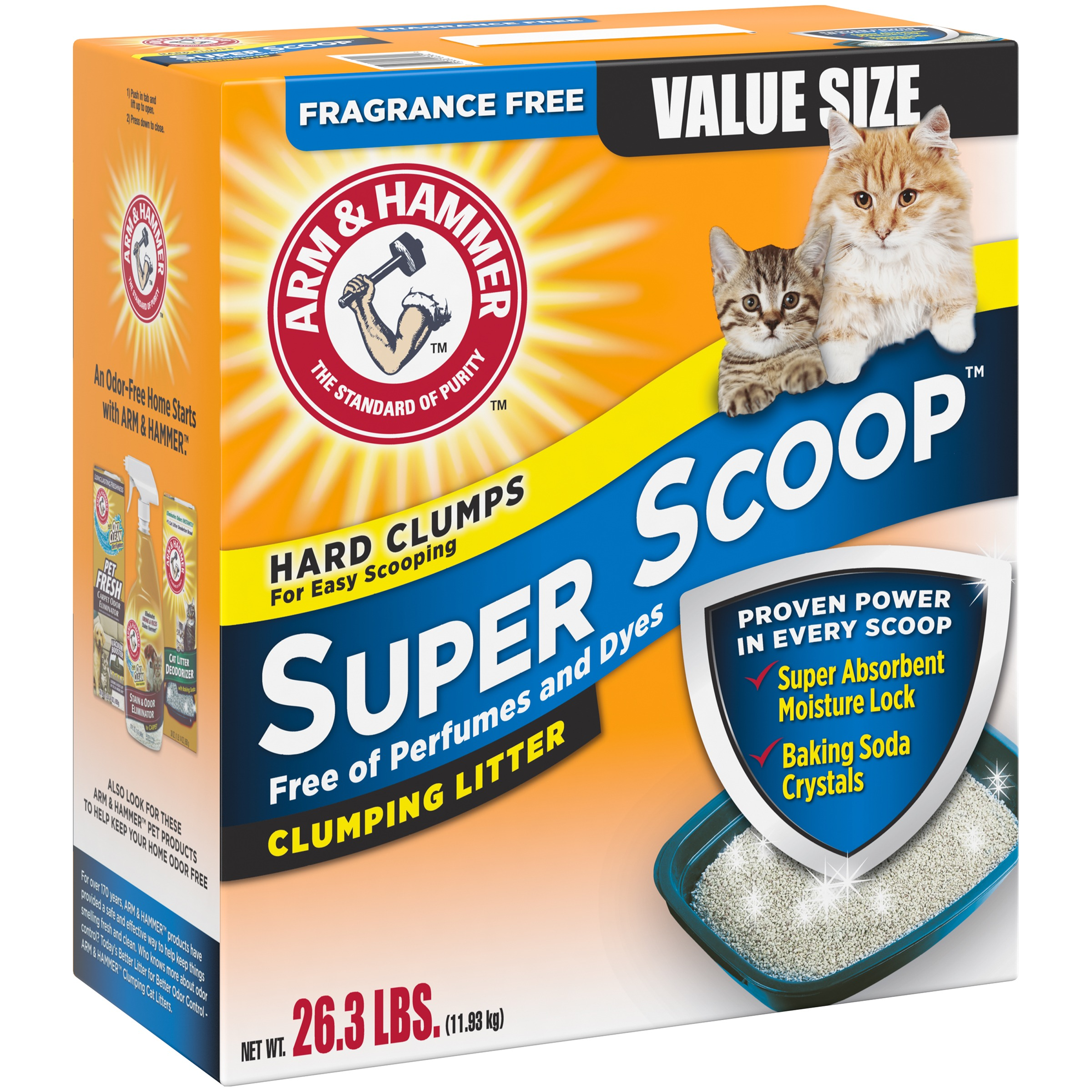 Arm & Hammer Super Scoop Fragrance Free Clumping Cat Litter 26.3 lb. Box