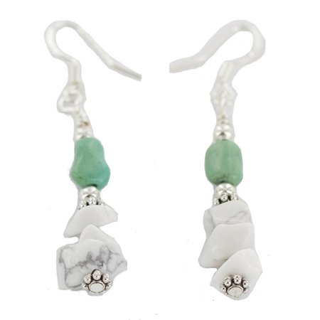 Certified Authentic .925 Sterling Silver Hooks Navajo White Turquoise Native American Dangle Earrings
