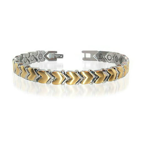 Yellow Plated Stainless Steel Bracelet - Gem Avenue New Stainless Steel Magnetic Heart Golf Therapy Bracelet 7.5 inch