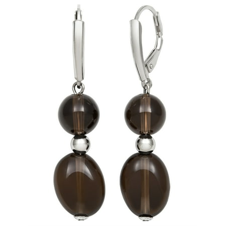 8-12mm Smokey Quartz Sterling Silver Leverback Earrings Cushion Smokey Quartz Earring