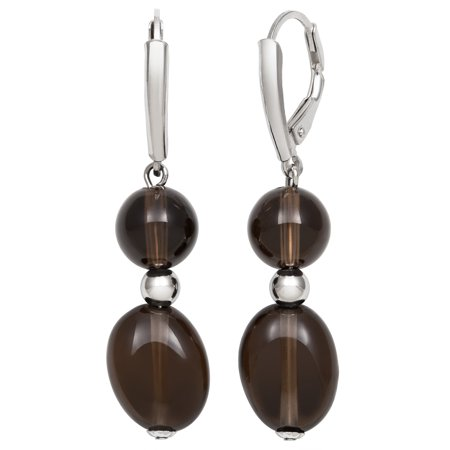 8-12mm Smokey Quartz Sterling Silver Leverback Earrings