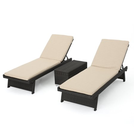 Marbella outdoor 3 piece dark brown wicker chaise lounge for Bella chaise dark brown