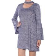KENSIE Purple W/ Choker Heather Bell Sleeve Scoop Neck Mini Shift Dress  Size: M