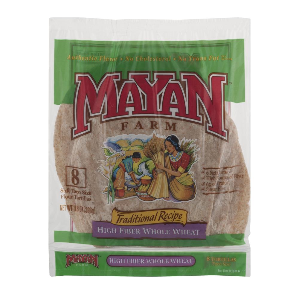 Mayan Farm Traditional Recipe Low Carb Whole Wheat, 8 tortillas, 11.8 oz