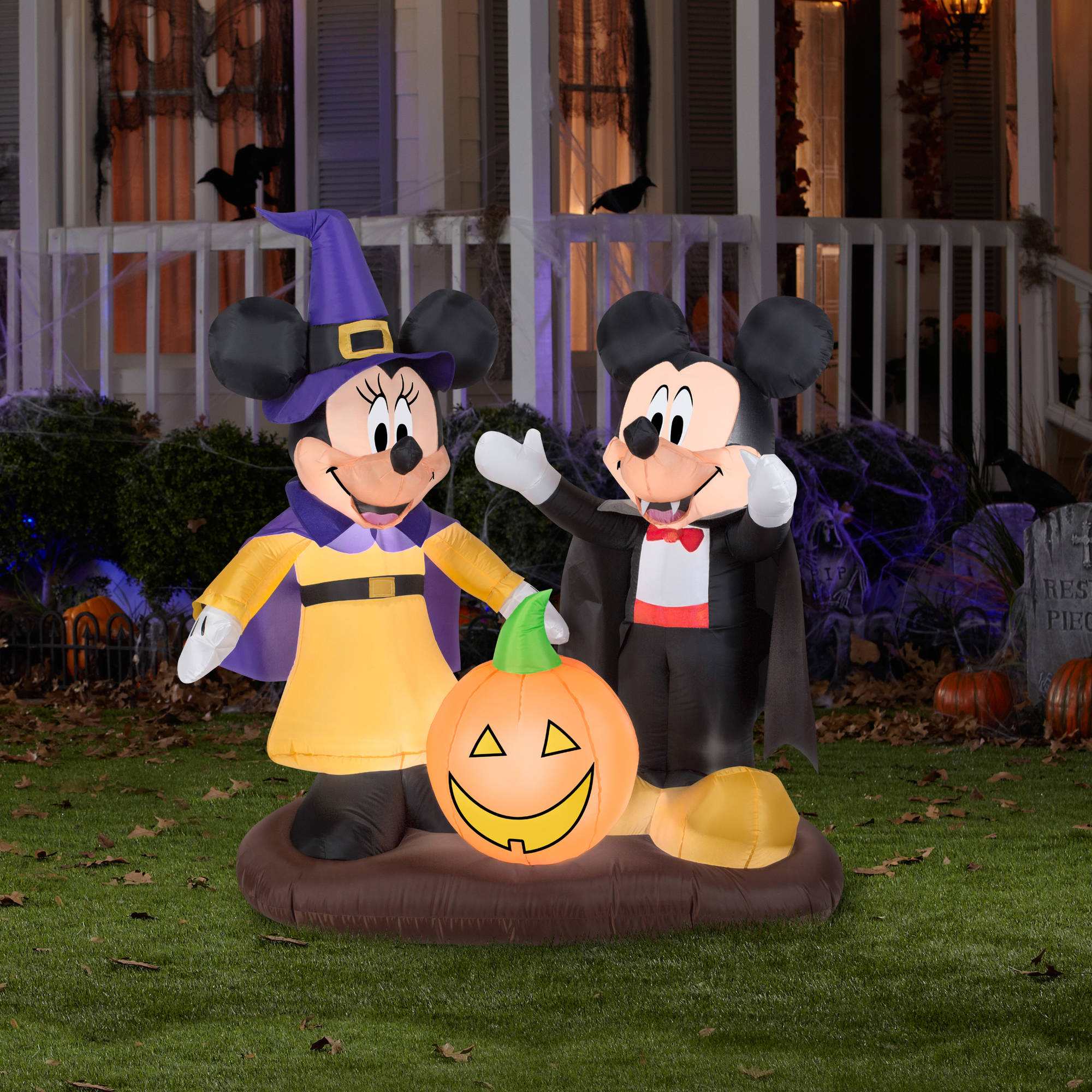 gemmy airblown inflatable 45 x 45 mickey mouse and minnie mouse halloween decoration walmartcom