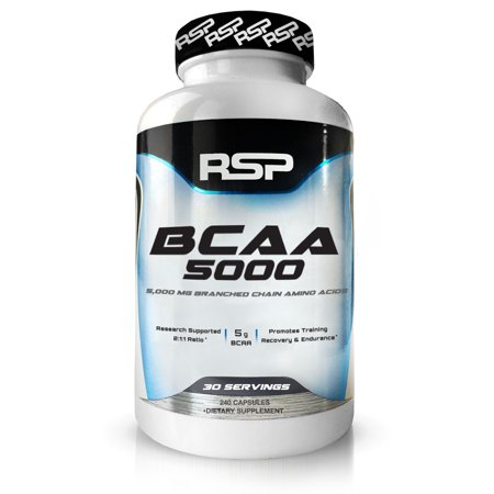 RSP Nutrition BCAA 5000, BCAA Capsules, Post Workout, Muscle Recovery, Endurance & Energy, 240