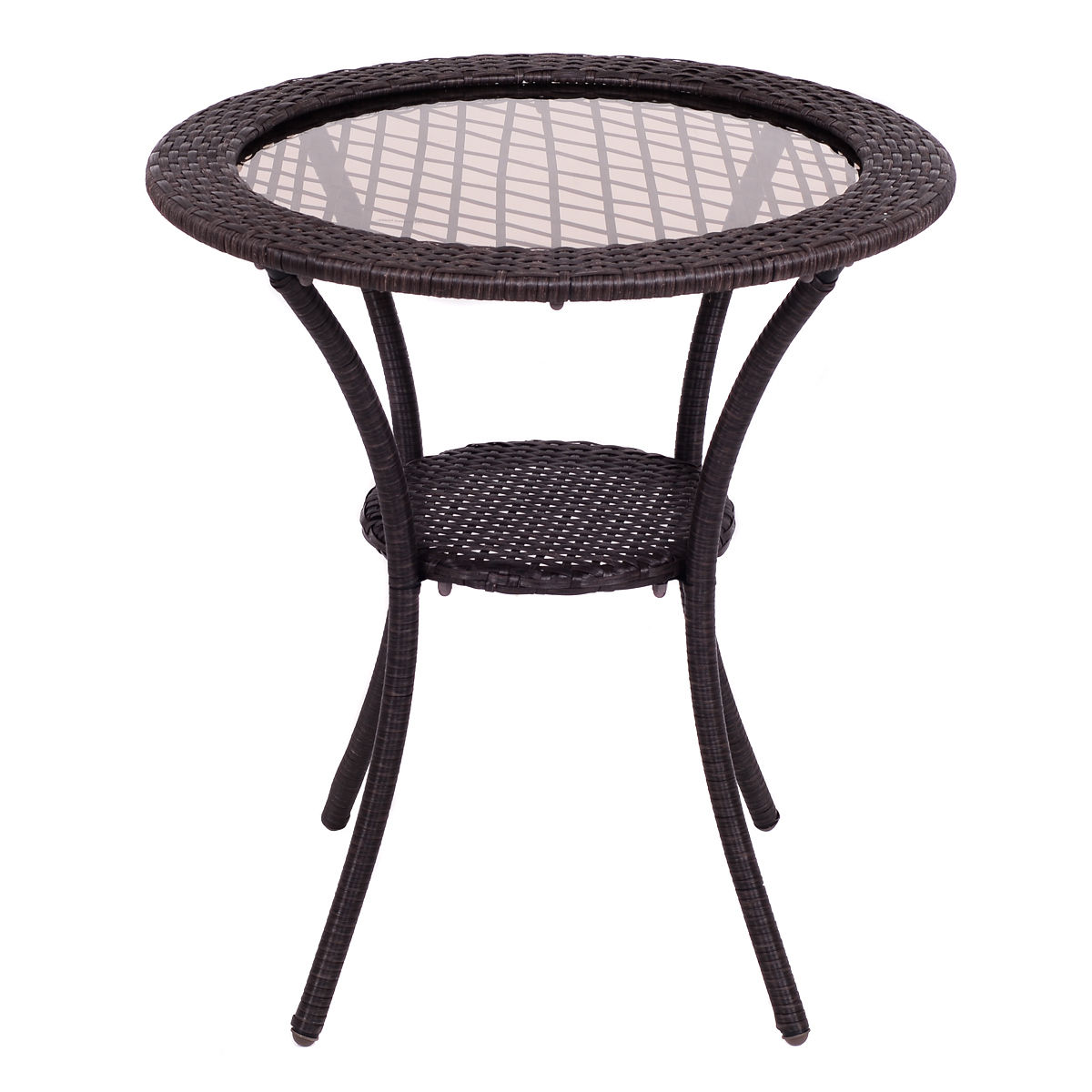 Attrayant Costway Round Rattan Wicker Coffee Table Glass Top Steel Frame Patio Furni  W/Lower Shelf