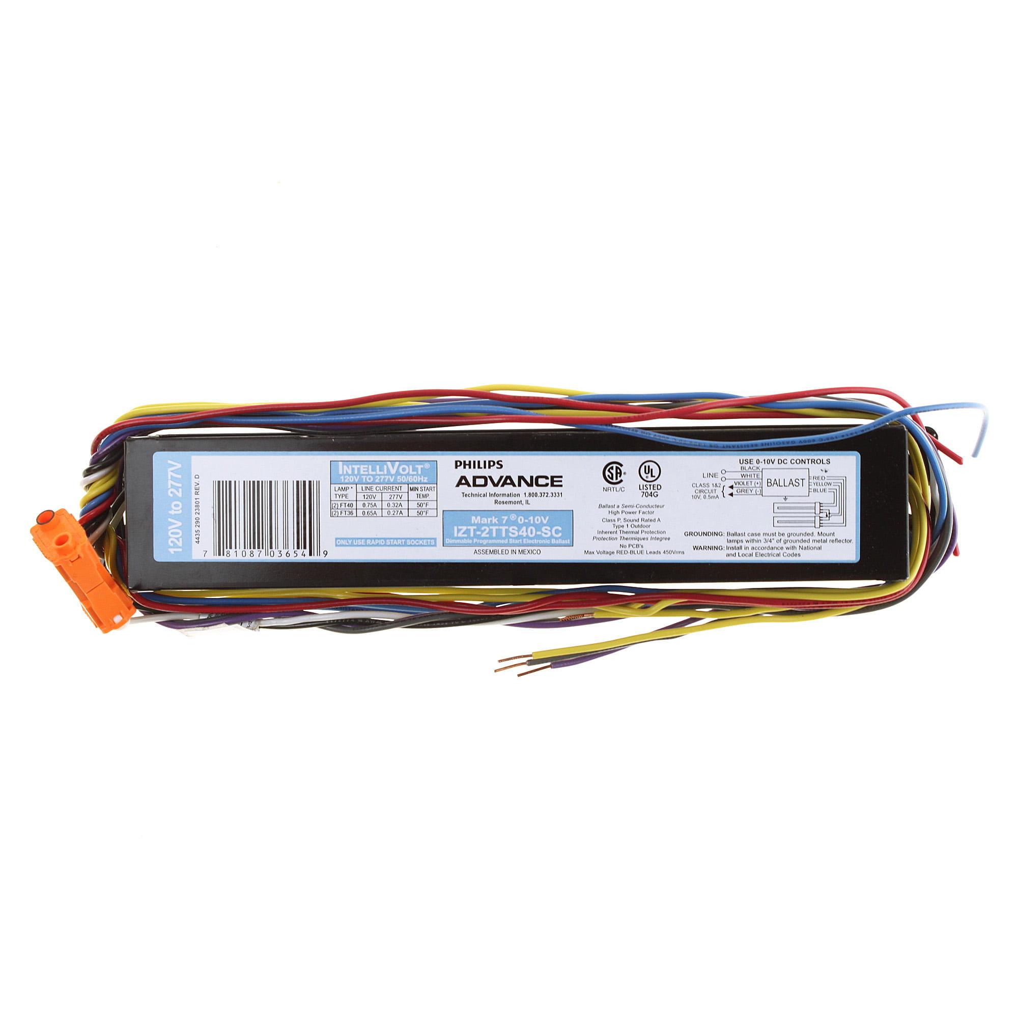 Philips Advance IZT-2TTS40-SC MARK 7 Electronic Fluorescent Ballast, 0-10V, 40W