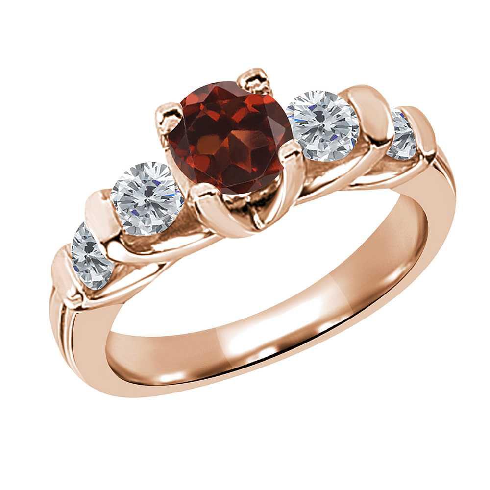 1.88 Ct Round Red Garnet G/H Diamond 14K Rose Gold Ring