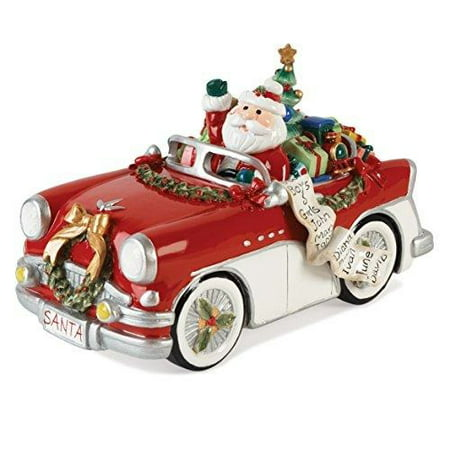 Fitz and Floyd Merry & Bright Collection, Santa in Car 'Here Comes Santa Claus' Musical