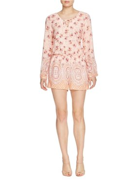 Sanctuary Womens Brown Eyed Girl Floral Print Button Back Romper Pink S