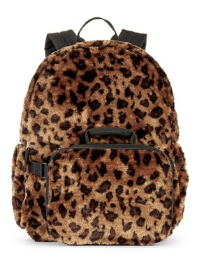 40e2e8088c5 Product Image Girls  Leopard Fur Backpack With Lunch Bag
