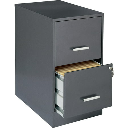 Lorell 2 Drawers Vertical Steel Lockable Filing Cabinet, Gray ()