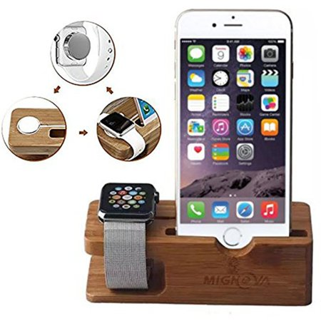 Apple Watch Stand, Mignova Bamboo Wood Charging Dock Charge Station Stock Cradle Holder for Apple Watch Series 3 / 2 / 1 Both 38mm and 42mm & iPhone X XS XR XS Max  / 8 / 7 / 6 / Plus
