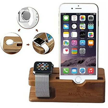 Apple Watch Stand, Mignova Bamboo Wood Charging Dock Charge Station Stock Cradle Holder for Apple Watch Series 3 / 2 / 1 Both 38mm and 42mm & iPhone X XS XR XS Max  / 8 / 7 / 6 /