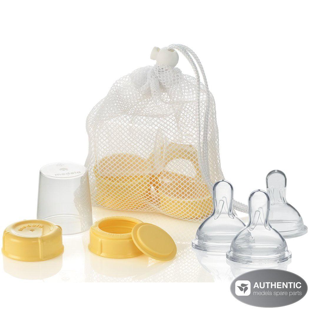 Medela Breastmilk Bottle Spare Parts WITH Three Slow-Flow Wide Base Nipples by Medela