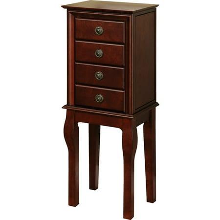 linon diamond four drawer jewelry armoire espresso. Black Bedroom Furniture Sets. Home Design Ideas