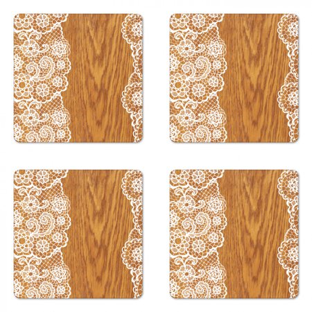 Vintage Coaster Set of 4, Shabby Form Lace Pattern on Wooden Rustic Background Feminine Retro Image, Square Hardboard Gloss Coasters, Standard Size, Pale Caramel White, by Ambesonne