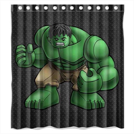 DEYOU Carton Anime Hulk Shower Curtain Polyester Fabric Bathroom Size 66x72 Inch