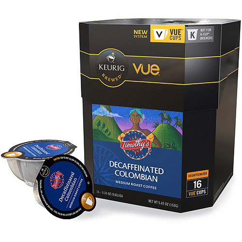 Keurig Vue Pack Timothy's World Coffee Decaffeinated Colombian Coffee, 16ct