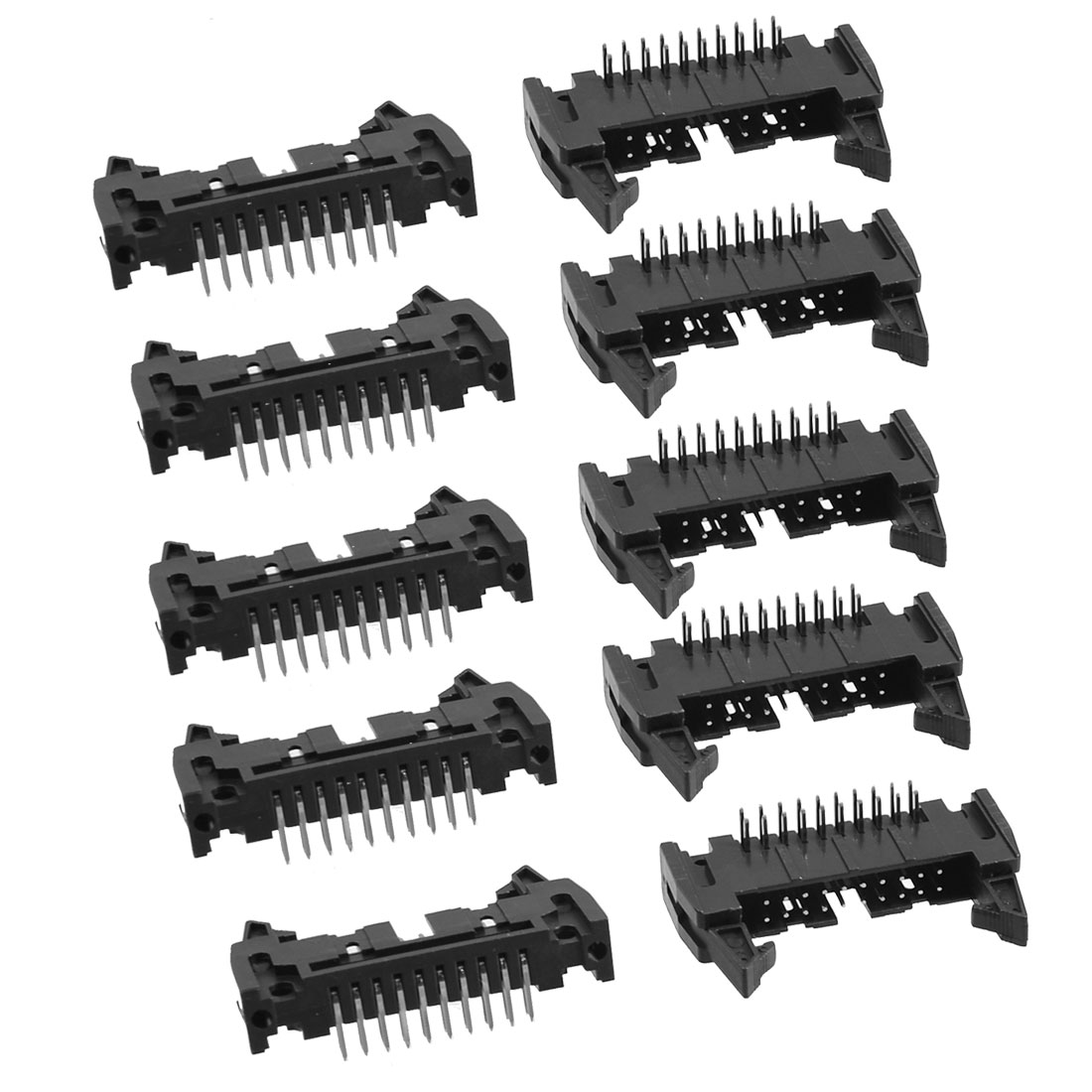 Unique Bargains 10 Pcs 2.54mm Pitch 20 Pins Dual Rows Right Angle IDC Box Connector Headers