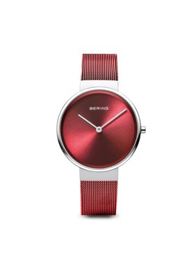 BERING Time Classic Collection. Polished Silver Stainless Steel Case with Red Milanese Strap and Red Dial Women's Watch. 14531-303
