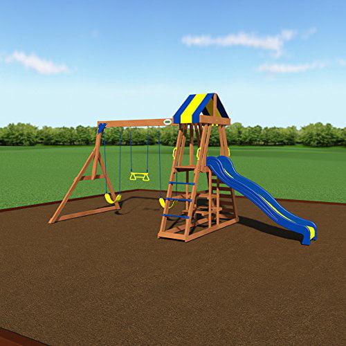 Backyard Discovery Yukon Iii All Cedar Wood Playset Swing Set