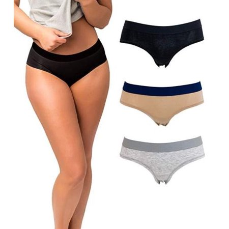 Women's Cotton Hipster Underwear Panties (3-Pack) | Cotton Spandex with Elastic Waistband