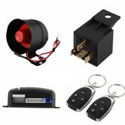 1 Way Car Burglar Alarm Auto Vehicle Protection Alarm System Keyless Entry Security Burglar Alarm System with 2 Remote Control