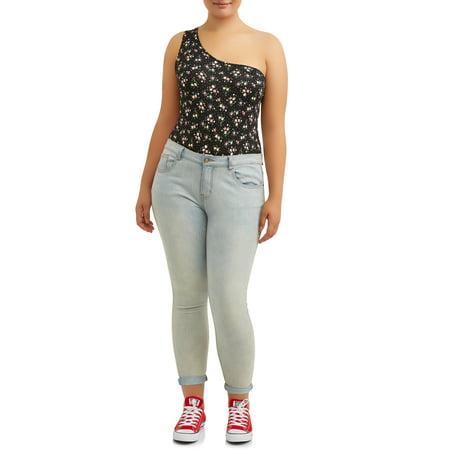 Juniors' Plus Ditsy Floral One-Shoulder Bodysuit - Junior Onesie