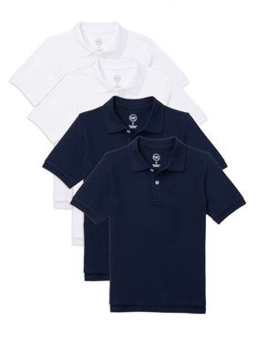 Wonder Nation Boys School Uniform Short Sleeve Pique Polo Shirt, 4-Pack Value Bundle, Sizes 4-18