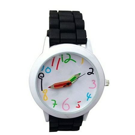 Teacher Students Sports Watch School Design Black Silicone Band Watch-254