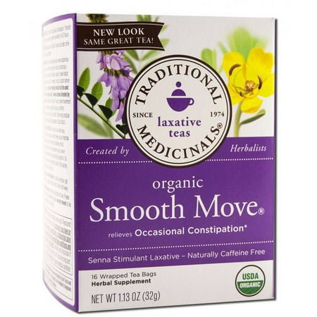 TRADITIONAL MEDICINALS Thé Smooth Move, organique, 16 Count (Lot de 2)